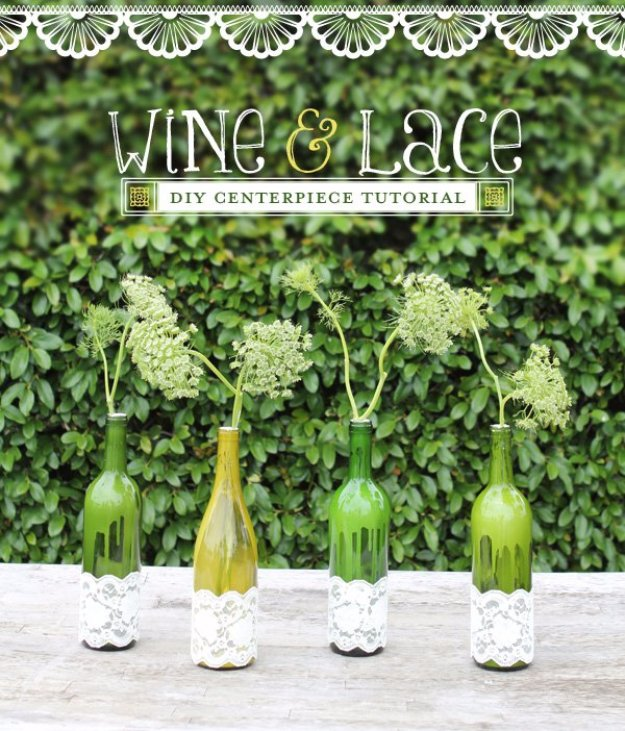Wine Bottle DIY Crafts - Laced Wine Bottle Vases - Projects for Lights, Decoration, Gift Ideas, Wedding, Christmas. Easy Cut Glass Ideas for Home Decor on Pinterest