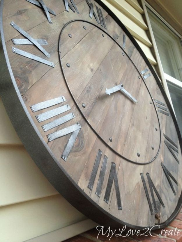 Rustic DIY Wall Art Ideas for Farmhouse Decor - DYI Wall Decor for Living Room, Bedroom, Bathroom, Kids Rooms | Large Rustic Clock Wall Art | Cheap Ideas for DIY Clocks With Step By Step How To