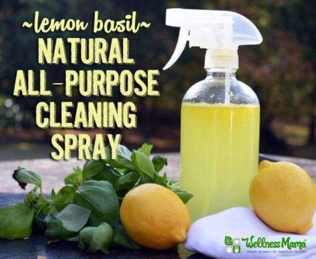 Best Natural Homemade DIY Cleaners and Recipes - Lemon Basil Natural Cleaning Spray Recipe - All Purposed Home Care and Cleaning with Vinegar, Essential Oils and Other Natural Ingredients For Cleaning Bathroom, Kitchen, Floors, Laundry, Furniture and More