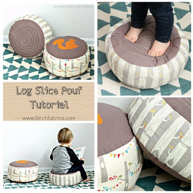 Sewing Projects for The Home - Log Slice Pouf Tutorial for Birch Fabrics - Free DIY Sewing Patterns, Easy Ideas and Tutorials for Curtains, Upholstery, Napkins, Pillows and Decor #homedecor #diy #sewing