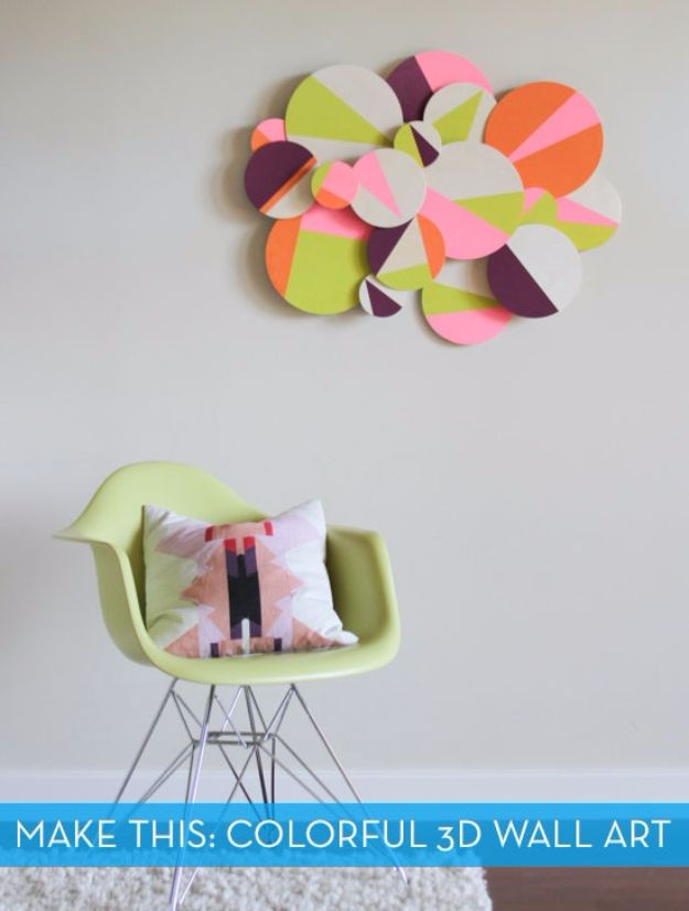 DIY Wall Art Ideas and Do It Yourself Wall Decor for Living Room, Bedroom, Bathroom, Teen Rooms | Make DIY Colorful 3D Geometric Wall Art | Cheap Ideas for Those On A Budget. Paint Awesome Hanging Pictures With These Easy Step By Step Tutorial