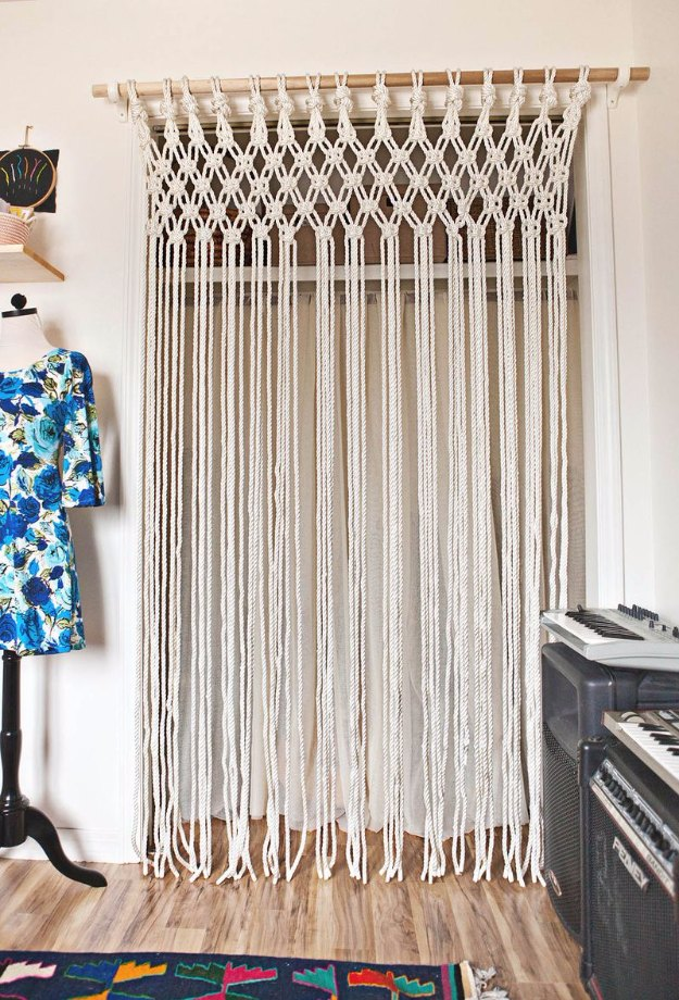 Sewing Projects for The Home - Make Your Own Macrame Curtain - Free DIY Sewing Patterns, Easy Ideas and Tutorials for Curtains, Upholstery, Napkins, Pillows and Decor #homedecor #diy #sewing