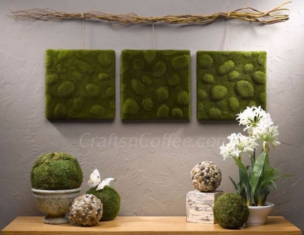 DIY Wall Art Ideas and Do It Yourself Wall Decor for Living Room, Bedroom, Bathroom, Teen Rooms | Mossy Wall Art | Cheap Ideas for Those On A Budget. Paint Awesome Hanging Pictures With These Easy Step By Step Tutorial