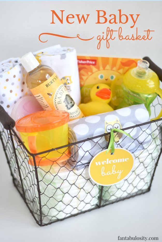 DIY Baby Gifts - New Baby Gift Basket - Homemade Baby Shower Presents and Creative, Cheap Gift Ideas for Boys and Girls - Unique Gifts for the Mom and Dad to Be - Blankets, Baskets, Burp Cloths and Easy No Sew Projects #diybaby #babygifts #babyshower