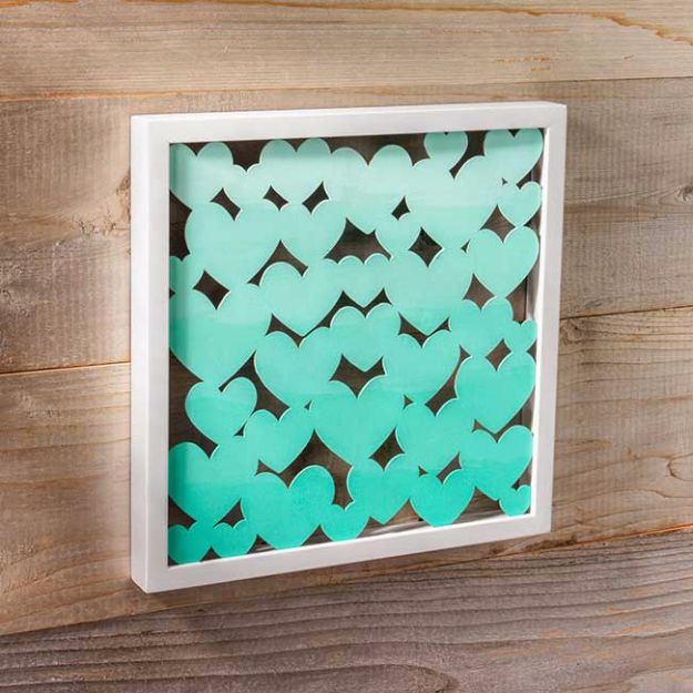 DIY Wall Art Ideas and Do It Yourself Wall Decor for Living Room, Bedroom, Bathroom, Teen Rooms | Ombre Heart DIY Shadow Box | Cheap Ideas for Those On A Budget. Paint Awesome Hanging Pictures With These Easy Step By Step Tutorials and Projects | http://diyjoy.com/diy-wall-art-decor-ideas