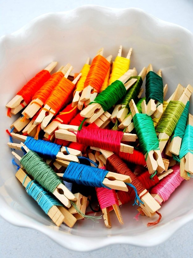 DIY Craft Room Ideas and Craft Room Organization Projects - Organizing Embroidery Floss - Cool Ideas for Do It Yourself Craft Storage - fabric, paper, pens, creative tools, crafts supplies and sewing notions