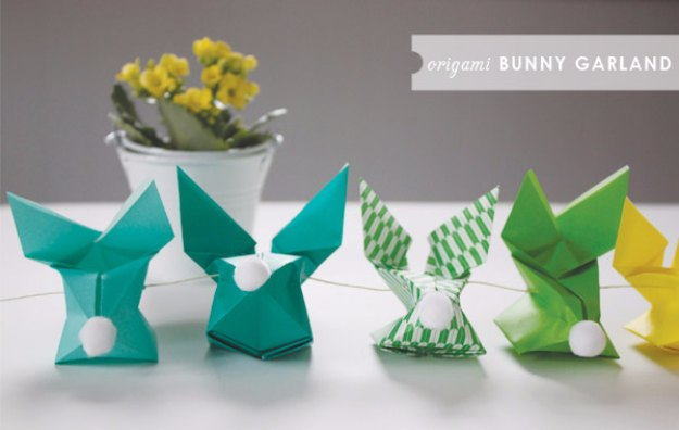 DIY Easter Decorations - Decor Ideas for the Home and Table - Origami Bunny Garland - Cute Easter Wreaths, Cheap and Easy Dollar Store Crafts for Kids. Vintage and Rustic Centerpieces and Mantel Decorations.