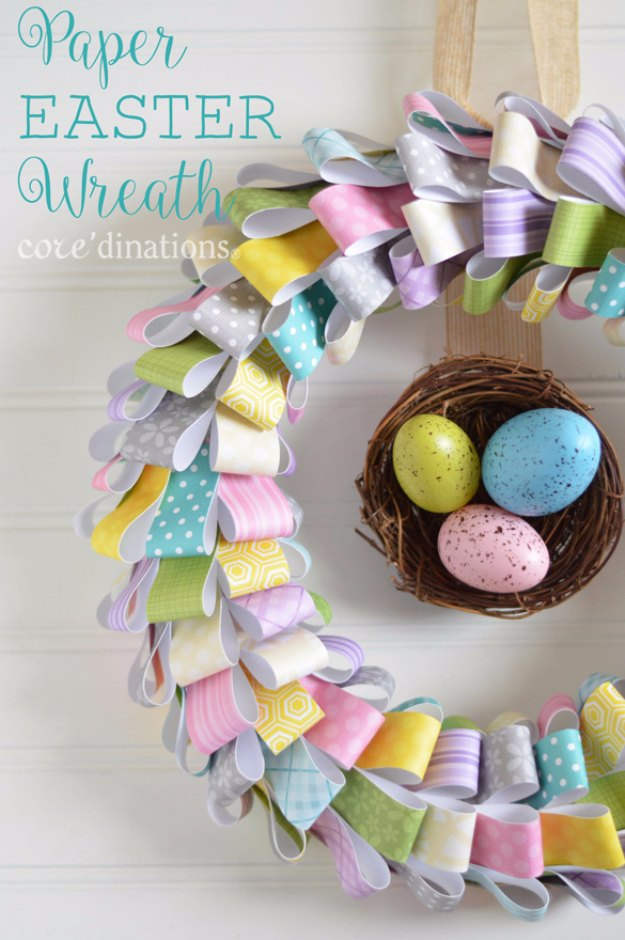 DIY Easter Decorations - Decor Ideas for the Home and Table - Paper Easter Wreath - Cute Easter Wreaths, Cheap and Easy Dollar Store Crafts for Kids. Vintage and Rustic Centerpieces and Mantel Decorations. http://diyjoy.com/diy-easter-decorations