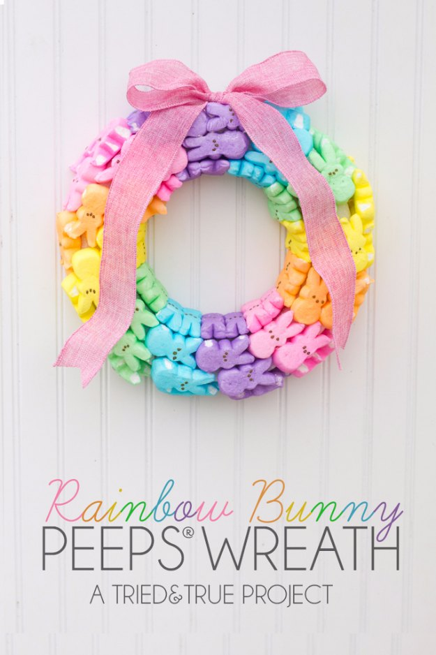 DIY Easter Decorations - Decor Ideas for the Home and Table - Rainbow and Bunny Peeps Wreath - Cute Easter Wreaths, Cheap and Easy Dollar Store Crafts for Kids. Vintage and Rustic Centerpieces and Mantel Decorations.