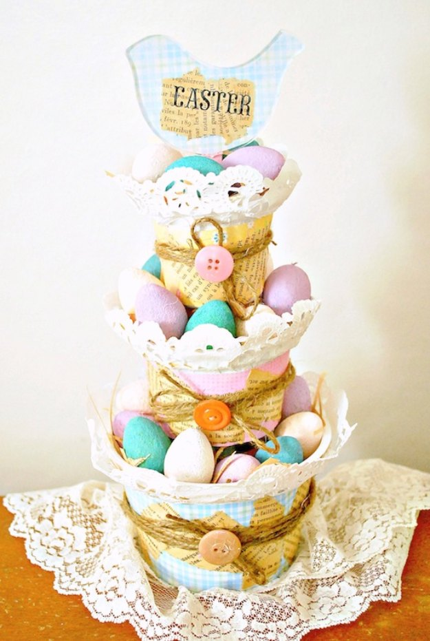 DIY Easter Decorations - Decor Ideas for the Home and Table - Recycled DIY Easter Basket Decor - Cute Easter Wreaths, Cheap and Easy Dollar Store Crafts for Kids. Vintage and Rustic Centerpieces and Mantel Decorations.
