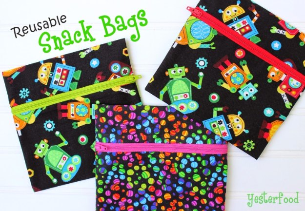 Sewing Projects for The Home - Reusable Snack Bags - Free DIY Sewing Patterns, Easy Ideas and Tutorials for Curtains, Upholstery, Napkins, Pillows and Decor #homedecor #diy #sewing