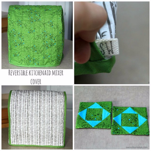 Sewing Projects for The Home - Reversible Kitchenaid Mixer Cover - Free DIY Sewing Patterns, Easy Ideas and Tutorials for Curtains, Upholstery, Napkins, Pillows and Decor #homedecor #diy #sewing