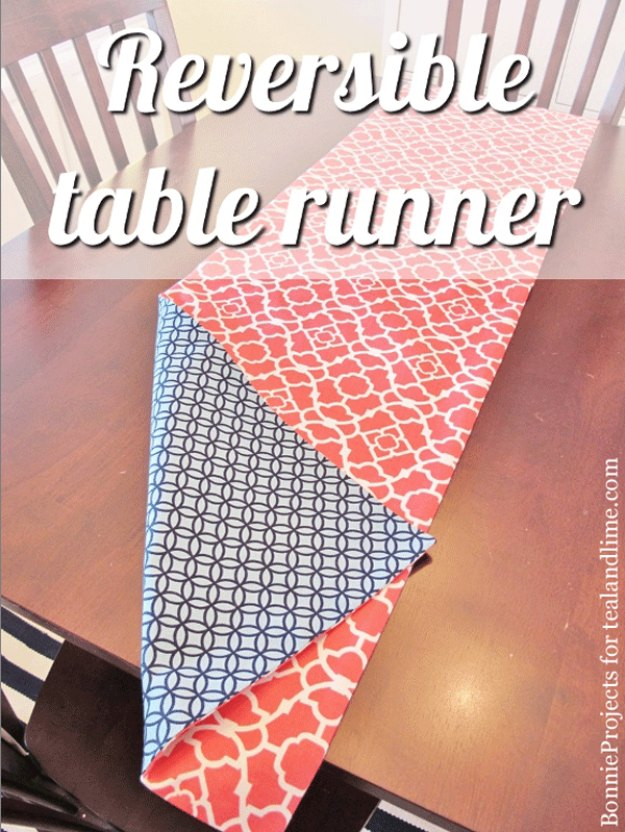 Sewing Projects for The Home - Reversible Table Runner - Free DIY Sewing Patterns, Easy Ideas and Tutorials for Curtains, Upholstery, Napkins, Pillows and Decor #homedecor #diy #sewing