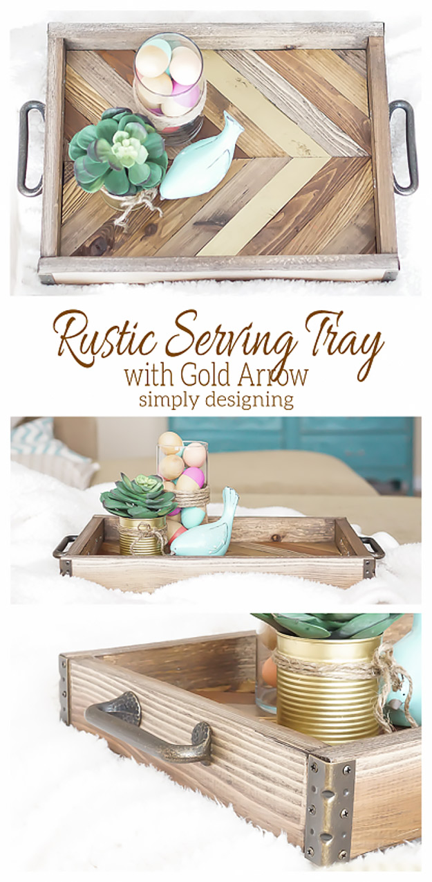 Expensive Looking DIY Wedding Gift Ideas - Rustic Serving Tray with Gold Arrow - Easy and Unique Homemade Gift Ideas for Bride and Groom - Cheap Presents You Can Make for the Couple- for the Home, From The Kids, Personalized Ideas for Parents and Bridesmaids | http://diyjoy.com/cheap-diy-wedding-gifts