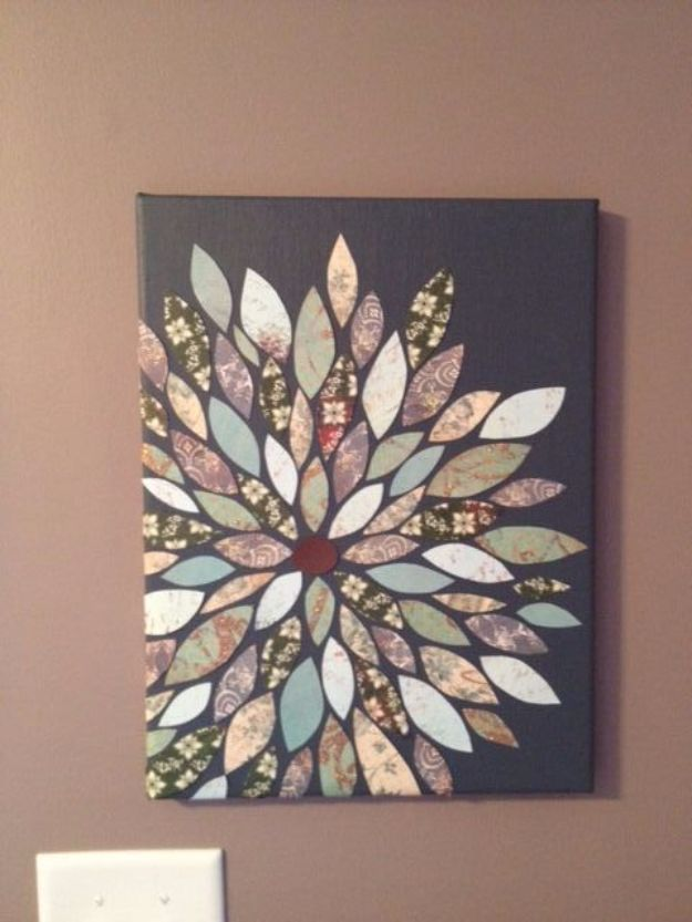 DIY Wall Art Ideas and Do It Yourself Wall Decor for Living Room, Bedroom, Bathroom, Teen Rooms | Scrapbook Flower Wall Art | Cheap Ideas for Those On A Budget. Paint Awesome Hanging Pictures With These Easy Step By Step Tutorial