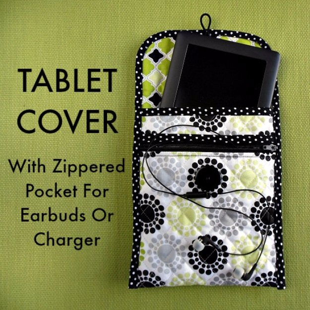 Sewing Projects for The Home -Sew a Quilted Tablet Cover With Zippered Pocket- Free DIY Sewing Patterns, Easy Ideas and Tutorials for Curtains, Upholstery, Napkins, Pillows and Decor #homedecor #diy #sewing
