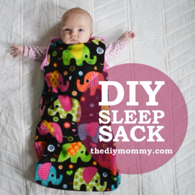 DIY Baby Gifts - Sew an Easy Baby Sleep Sack - Homemade Baby Shower Presents and Creative, Cheap Gift Ideas for Boys and Girls - Unique Gifts for the Mom and Dad to Be - Blankets, Baskets, Burp Cloths and Easy No Sew Projects #diybaby #babygifts #babyshower