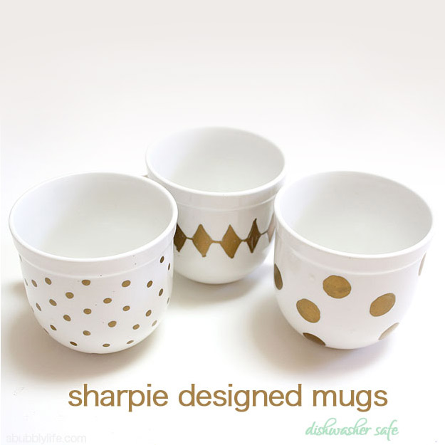 Expensive Looking DIY Wedding Gift Ideas - Sharpie Designed Set of Mugs - Easy and Unique Homemade Gift Ideas for Bride and Groom - Cheap Presents You Can Make for the Couple- for the Home, From The Kids, Personalized Ideas for Parents and Bridesmaids | http://diyjoy.com/cheap-diy-wedding-gifts