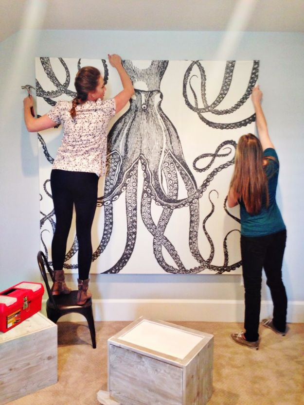 DIY Wall Art Ideas and Do It Yourself Wall Decor for Living Room, Bedroom, Bathroom, Teen Rooms | Shower Curtain into Large Wall Art | Cheap Ideas for Those On A Budget. Paint Awesome Hanging Pictures With These Easy Step By Step Tutorial