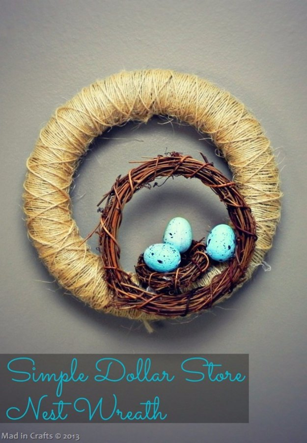 DIY Easter Decorations - Decor Ideas for the Home and Table - Simple Dollar Stoire Nest Wreath - Cute Easter Wreaths, Cheap and Easy Dollar Store Crafts for Kids. Vintage and Rustic Centerpieces and Mantel Decorations.