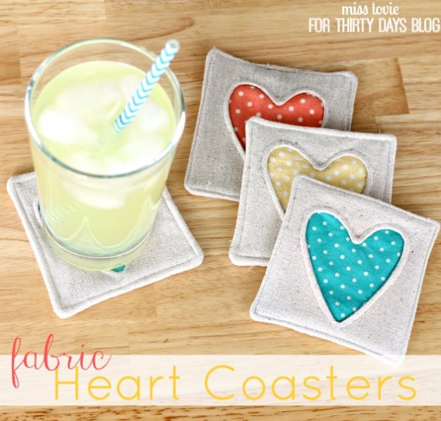 Sewing Projects for The Home - Simple Fabric Heart Coasters Tutorial - Free DIY Sewing Patterns, Easy Ideas and Tutorials for Curtains, Upholstery, Napkins, Pillows and Decor #homedecor #diy #sewing