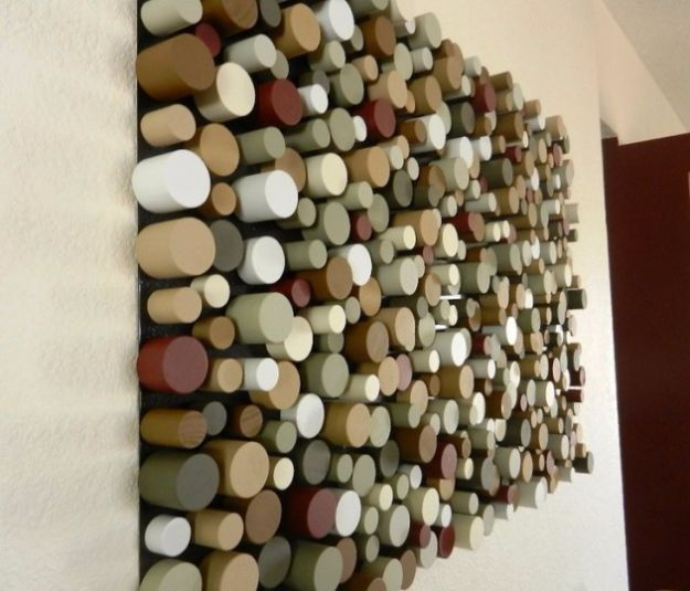 DIY Wall Art Ideas and Do It Yourself Wall Decor for Living Room, Bedroom, Bathroom, Teen Rooms | Sliced Dowel Wall Art | Cheap Ideas for Those On A Budget. Paint Awesome Hanging Pictures With These Easy Step By Step Tutorial
