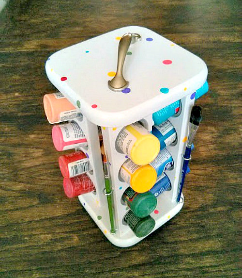 DIY Craft Room Ideas and Craft Room Organization Projects - Spice Rack Paint Caddy - Cool Ideas for Do It Yourself Craft Storage - fabric, paper, pens, creative tools, crafts supplies and sewing notions