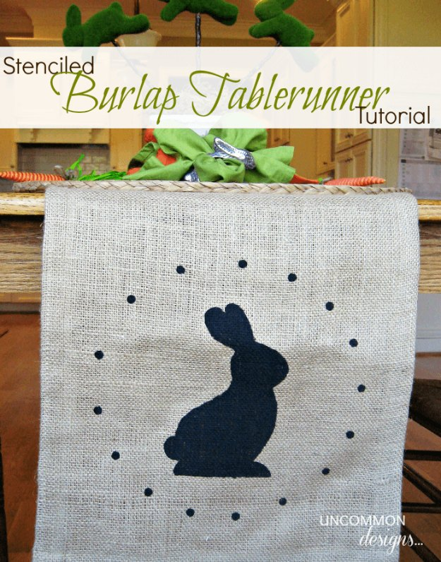 DIY Easter Decorations - Decor Ideas for the Home and Table - Stenciled Burlap Table Runner - Cute Easter Wreaths, Cheap and Easy Dollar Store Crafts for Kids. Vintage and Rustic Centerpieces and Mantel Decorations.