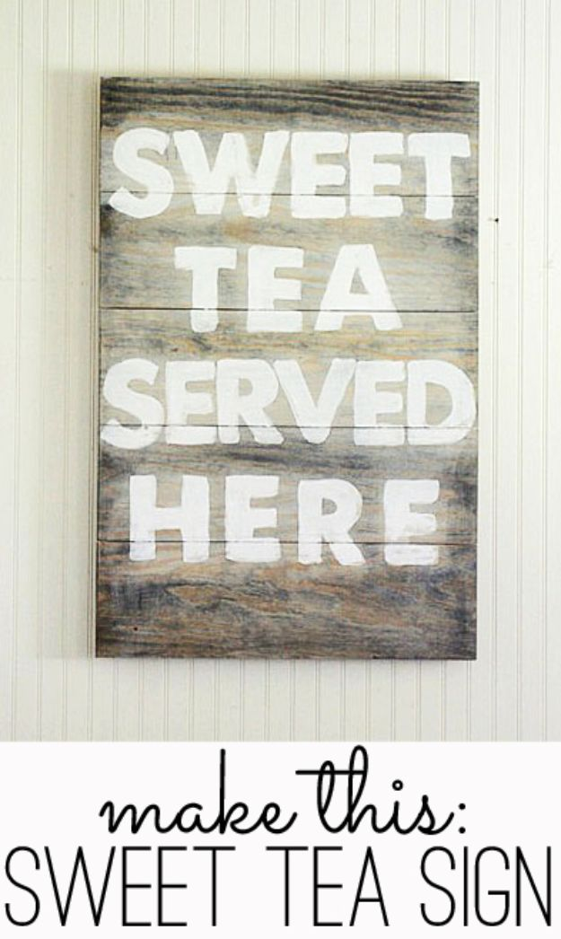 DIY Wall Art Ideas and Do It Yourself Wall Decor for Living Room, Bedroom, Bathroom, Teen Rooms | Sweet Tea Served Here Rustic Wall Art Sign | Cheap Ideas for Those On A Budget. Paint Awesome Hanging Pictures With These Easy Step By Step Tutorial