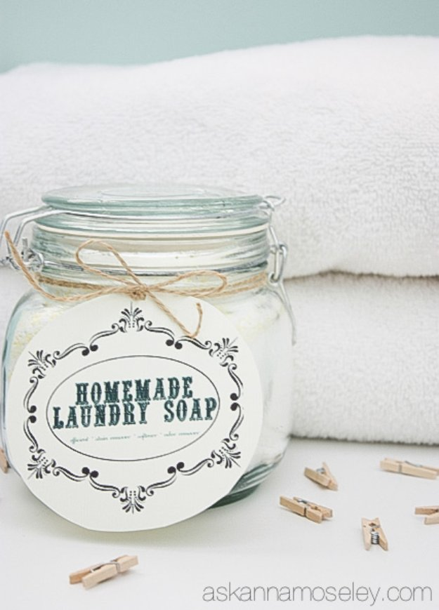 Laundry Detergent Recipes - All Natural Laundry Soap - DIY Detergents and Cleaning Recipe Tutorials for Homemade Inexpensive Cleaners You Can Make At Home #recipes #laundry