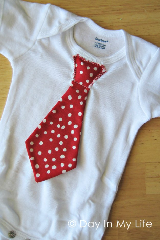 DIY Baby Gifts - Tie Onesie - Homemade Baby Shower Presents and Creative, Cheap Gift Ideas for Boys and Girls - Unique Gifts for the Mom and Dad to Be - Blankets, Baskets, Burp Cloths and Easy No Sew Projects #diybaby #babygifts #babyshower