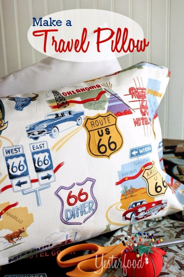 Sewing Projects for The Home - Travel Pillow - Free DIY Sewing Patterns, Easy Ideas and Tutorials for Curtains, Upholstery, Napkins, Pillows and Decor #homedecor #diy #sewing