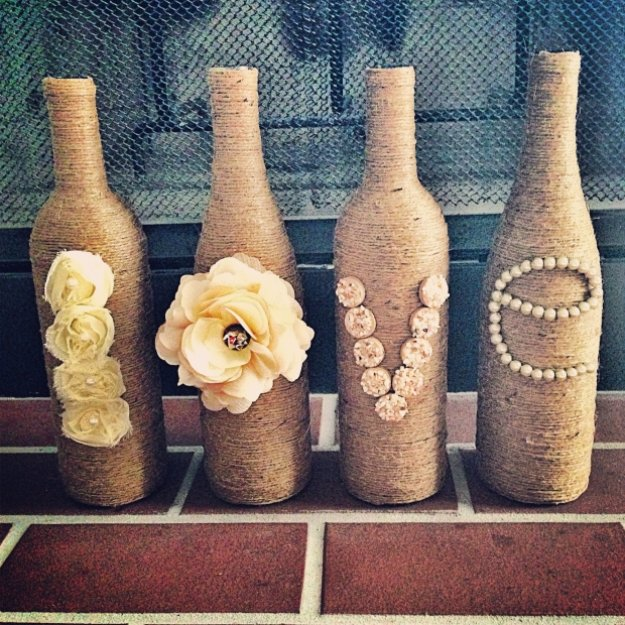 Wine Bottle DIY Crafts - Twine Wrapped Wine Bottles - Projects for Lights, Decoration, Gift Ideas, Wedding, Christmas. Easy Cut Glass Ideas for Home Decor on Pinterest