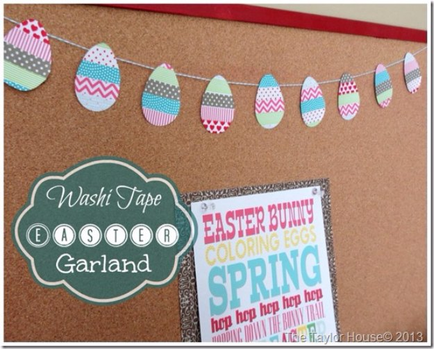DIY Easter Decorations - Decor Ideas for the Home and Table -Washi Tape Easter Garland - Cute Easter Wreaths, Cheap and Easy Dollar Store Crafts for Kids. Vintage and Rustic Centerpieces and Mantel Decorations.