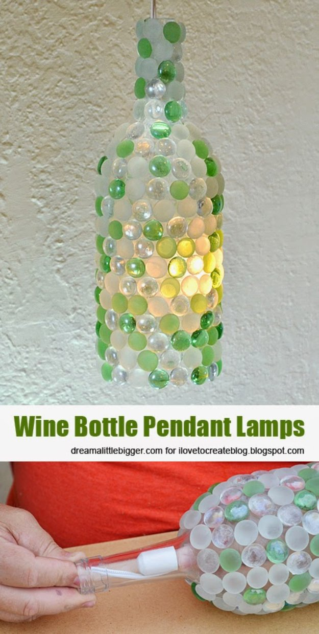 Wine Bottle DIY Crafts - Wine Bottle Pendant Lamps - Projects for Lights, Decoration, Gift Ideas, Wedding, Christmas. Easy Cut Glass Ideas for Home Decor on Pinterest