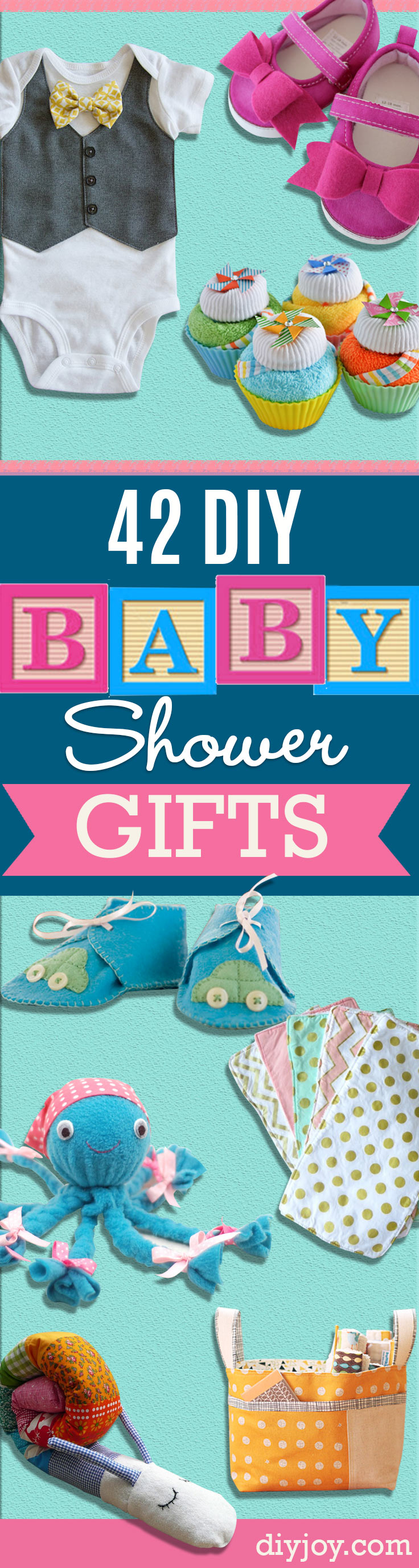 Best DIY Baby Shower Gifts -  Homemade Baby Shower Presents and Creative, Cheap Gift Ideas for Boys and Girls - Unique Gifts for the Mom and Dad to Be - Blankets, Baskets, Burp Cloths and Easy No Sew Projects http://diyjoy.com/diy-baby-shower-gifts