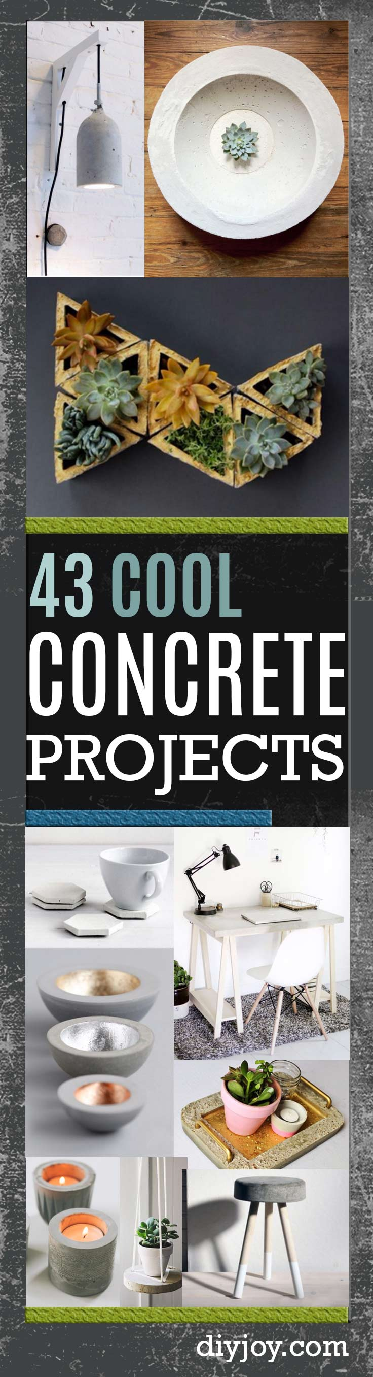 concrete crafts and DIY ideas made with concrete- Cheap and creative projects and tutorials for countertops and ideas for floors, patio and porch decor, tables, planters, vases, frames, jewelry holder, home decor and DIY gifts #diy #crafts