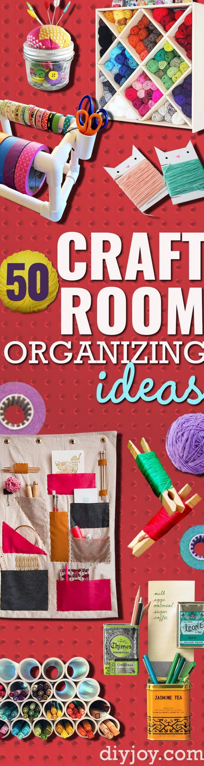 DIY Craft Room Ideas and Craft Room Organization Projects -- Cool Ideas for Do It Yourself Craft Storage - fabric, paper, pens, creative tools, crafts supplies and sewing notions |