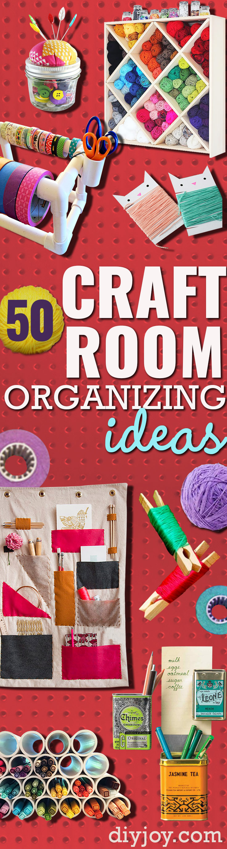 DIY Craft Room Ideas and Craft Room Organization Projects -Cool Ideas for Do It Yourself Craft Storage - fabric, paper, pens, creative tools, crafts supplies