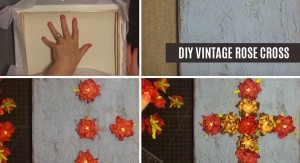 DIY Vintage Rose Cross Wall Art