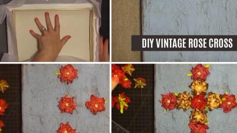 DIY Vintage Rose Cross Wall Art | DIY Joy Projects and Crafts Ideas