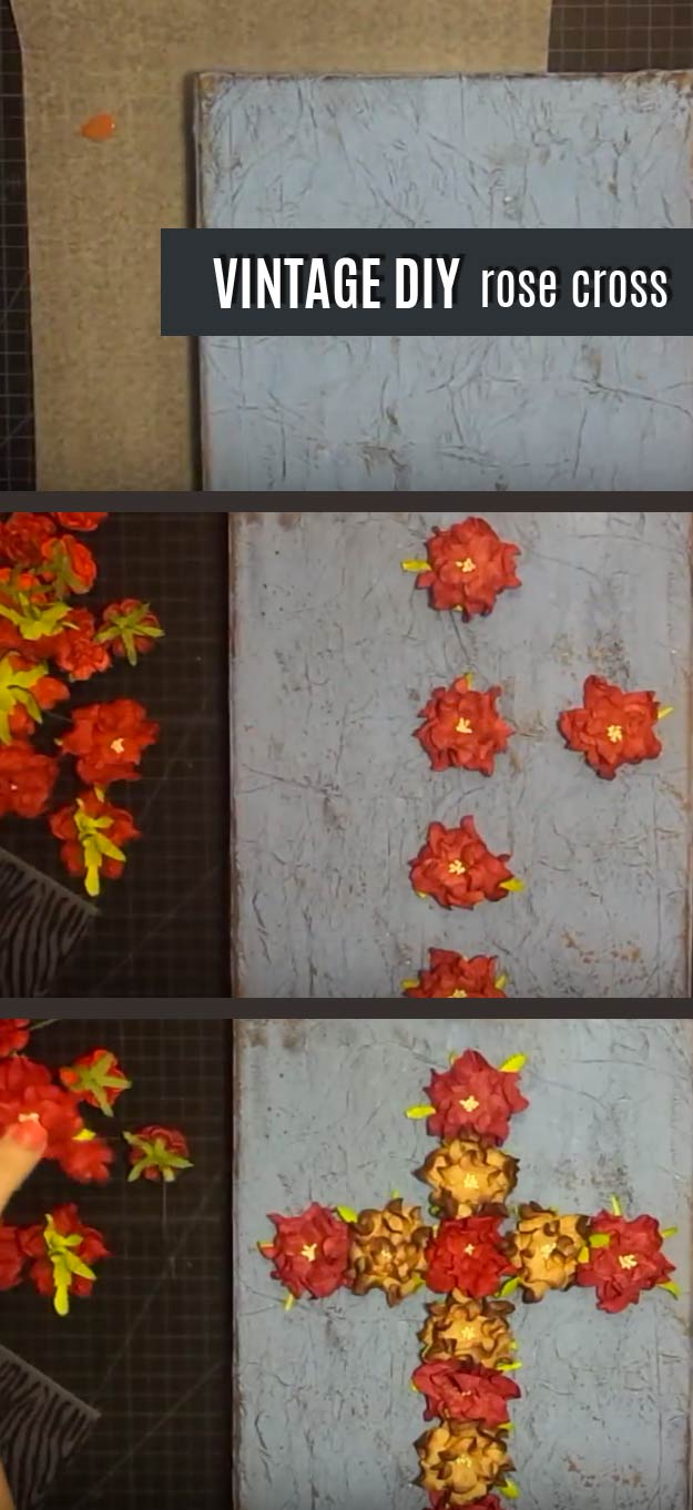 DIY Wall Art Ideas and Do It Yourself Wall Decor for Living Room, Bedroom, Bathroom, Teen Rooms | DIY Vintage Rose Cross Wall Art | Cheap Ideas for Those On A Budget. Paint Awesome Hanging Pictures With These Easy Step By Step Tutorial