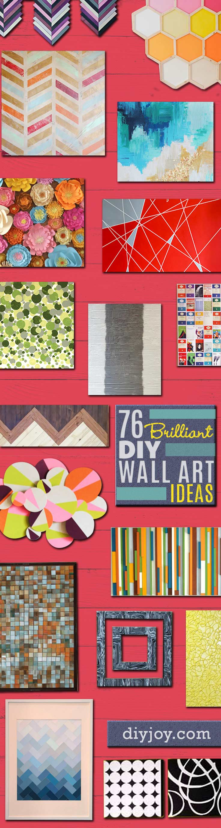 DIY Wall Art Ideas and Do It Yourself Wall Decor for Living Room, Bedroom, Bathroom, Teen Rooms | Modern, Abstract, Rustic, Simple, Easy and Affordable Wall Art Tutorials | Cheap Ideas for Those On A Budget. Paint Awesome Hanging Pictures With These Easy Step By Step Instructions for DIY Projects and Home Decor Ideas | Easy and Cheap Christmas Gift Ideas for Family and Friends http://diyjoy.com/diy-wall-art-decor-ideas