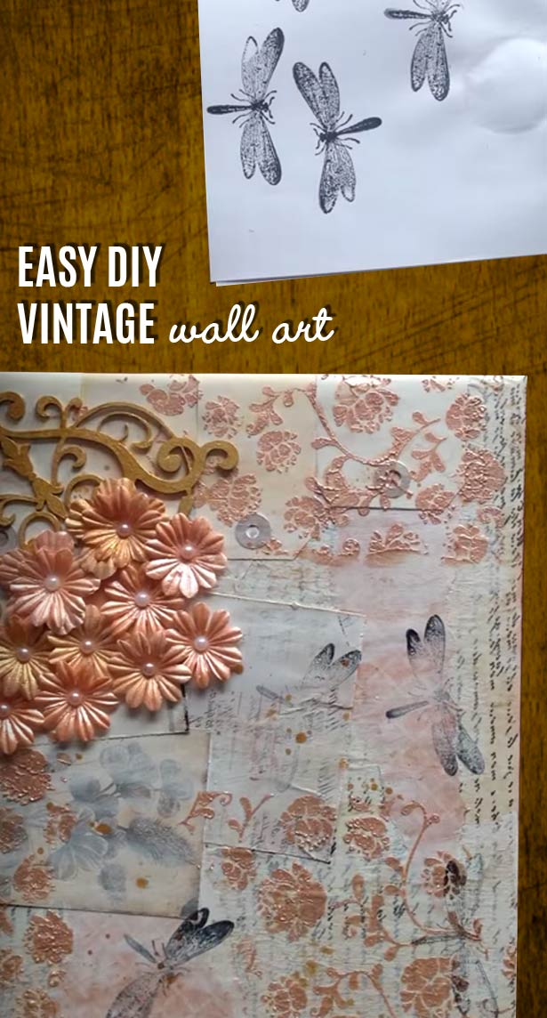 Vintage Wall Decoration Ideas : Vintage wall art made easy diy mixed media canvas joy