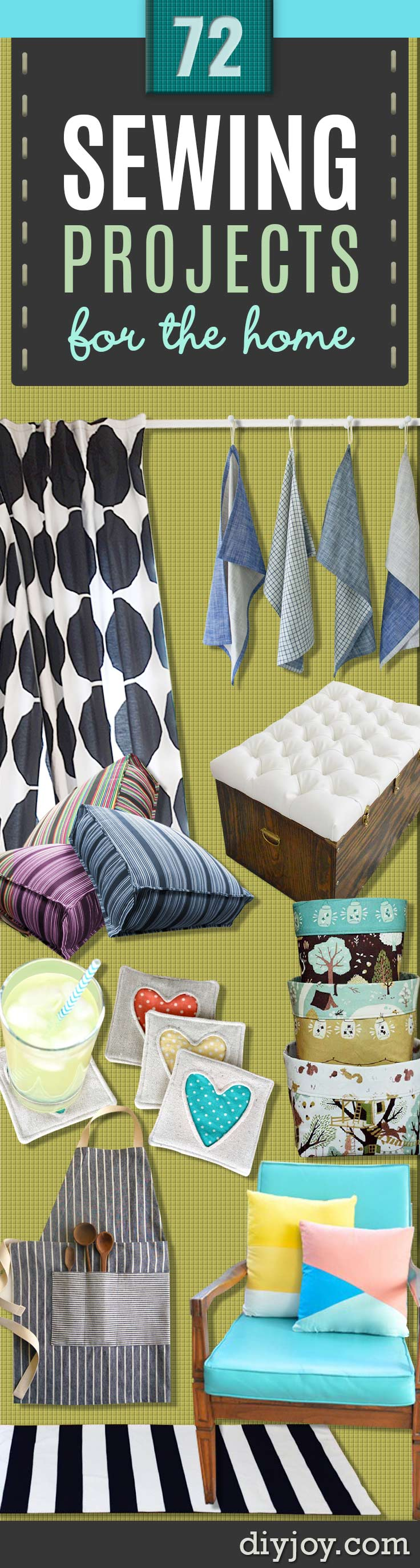Sewing Projects for The Home - Free DIY Sewing Patterns, Easy Ideas and Tutorials for Curtains, Upholstery, Napkins, Pillows and Decor #sewing #sewingideas #homedecor