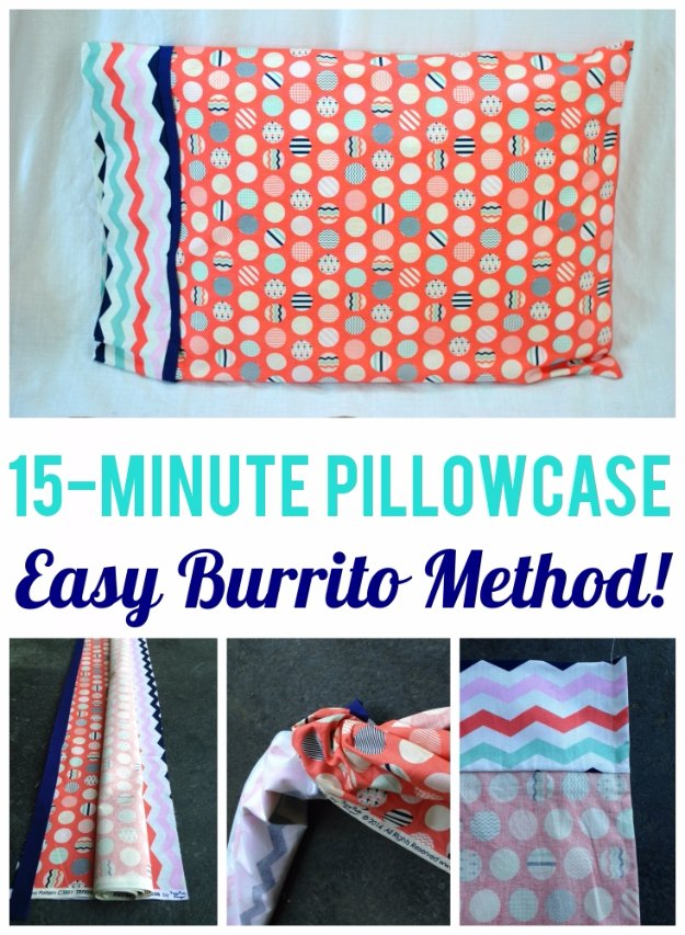 Easy Sewing Projects to Sell - 15-Minute Burrito Pillowcase - DIY Sewing Ideas for Your Craft Business. Make Money with these Simple Gift Ideas, Free Patterns #sewing #crafts