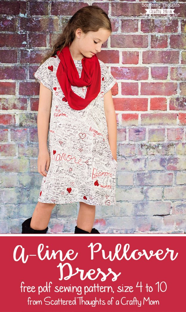 DIY Sewing Gift Ideas for Adults and Kids, Teens, Women, Men and Baby - A-Line Pullover Dress - Cute and Easy DIY Sewing Projects Make Awesome Presents for Mom, Dad, Husband, Boyfriend, Children #sewing #diygifts #sewingprojects