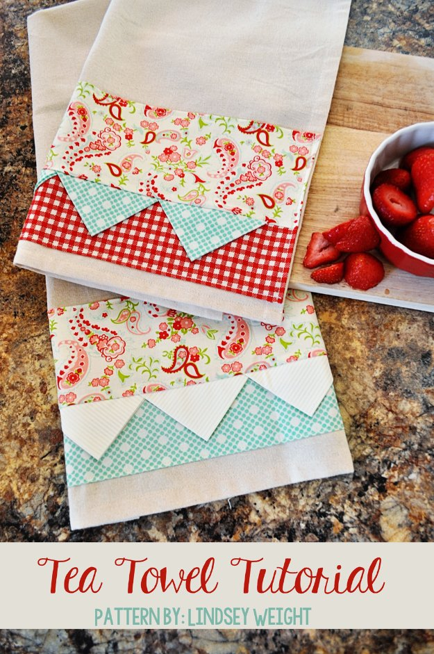 DIY Sewing Gift Ideas for Adults and Kids, Teens, Women, Men and Baby - Adorable Tea Towel - Cute and Easy DIY Sewing Projects Make Awesome Presents for Mom, Dad, Husband, Boyfriend, Children #sewing #diygifts #sewingprojects