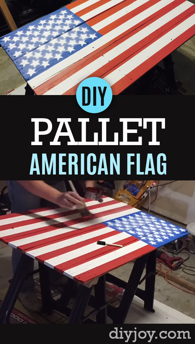 DIY Pallet sign Ideas - American Flag Pallet Sign Tutorial - Cool Homemade Wall Art Ideas and Pallet Signs for Bedroom, Living Room, Patio and Porch. Creative Rustic Decor Ideas on A Budget http://diyjoy.com/diy-pallet-signs-ideas