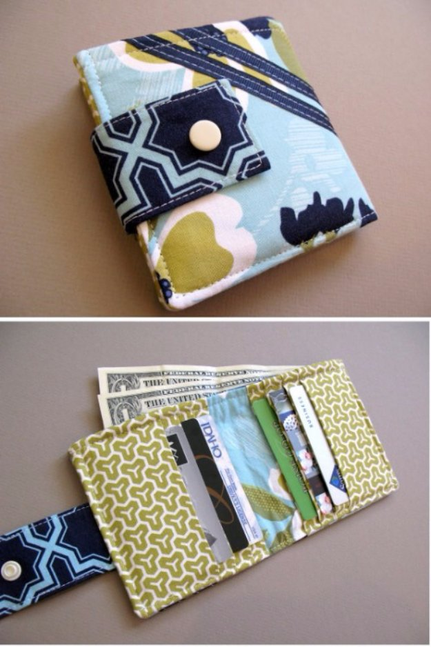 DIY Christmas Gifts From Fabric Scraps - Bifold Wallet - Creative DIY Sewing Projects and Things to Do With Leftover Fabric Scrap Crafts #sewing #fabric #crafts